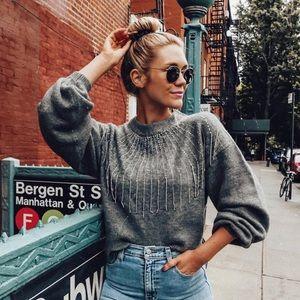 Zara Beaded Fringe Embellished Sweater